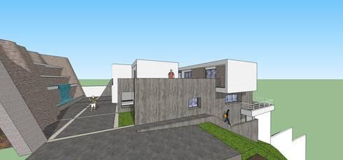 Fachada lateral: Casas de estilo minimalista por MARATEA Estudio