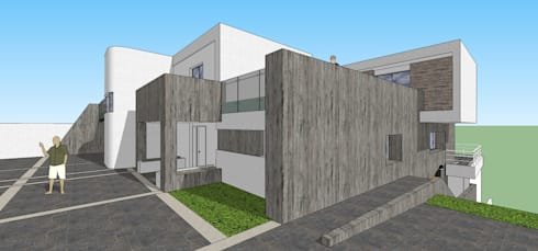 Pespectiva de la fachada: Casas de estilo minimalista por MARATEA Estudio
