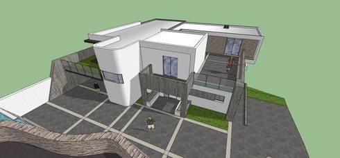 Vista aérea: Casas de estilo minimalista por MARATEA Estudio