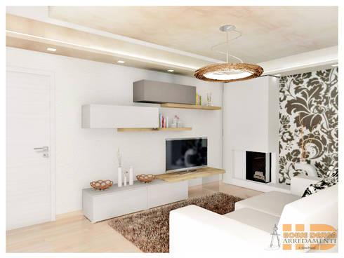 Soggiorno moderno con carta da parati von House Design Arredamenti ...