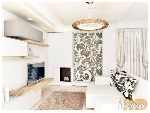 Soggiorno moderno con carta da parati di house design for Carta parati design moderno