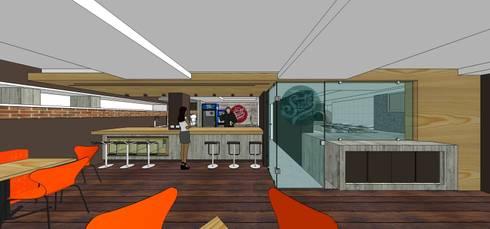 Sotano Siete   Pizza & Caffé @sotanosiete. Vista frontal de la barra: Restaurantes de estilo  por MARATEA Estudio