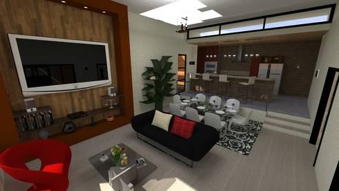 Vivienda Unifamiliar: Salas / recibidores de estilo moderno por N.A. ARQUITECTURA
