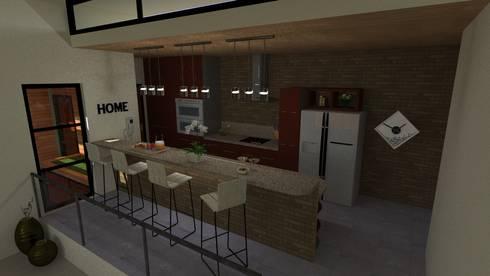 Vivienda Unifamiliar: Cocinas de estilo moderno por N.A. ARQUITECTURA