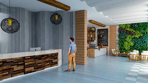 Lobby- Hotel.: Vestíbulos, pasillos y escaleras de estilo  por PROCESOLAB