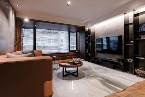 台北西湖-住宅案:  客廳 by 山巷室內設計