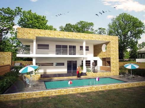 Fachada lateral: Casas de estilo minimalista por Project arquitectura s.a.s