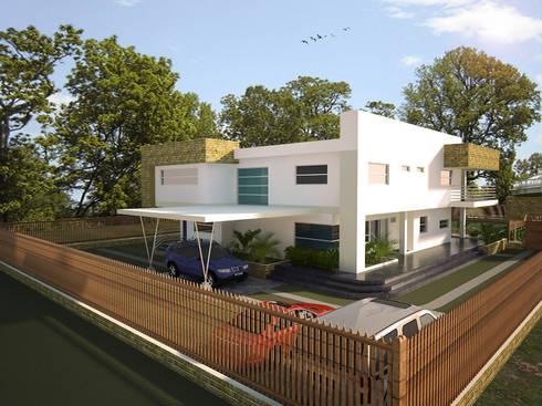 Fachada principal del proyecto, acceso: Casas de estilo minimalista por Project arquitectura s.a.s