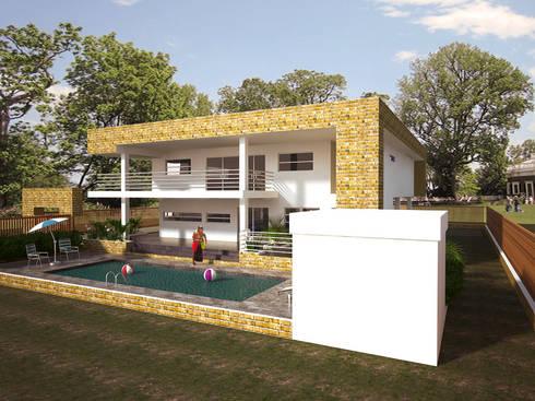 Fachada lateral y posterior: Casas de estilo minimalista por Project arquitectura s.a.s