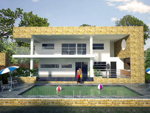Toma fachada lateral, zona de piscina y BBQ: Casas de estilo minimalista por Project arquitectura s.a.s