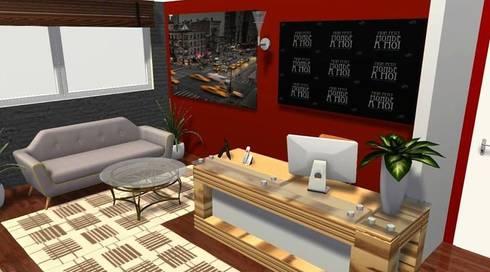 MODELO 3D RECEPCIÓN OFICINAS:  de estilo  por DISEÑO Y DECORACIÓN DE ESPACIOS INTERIORES