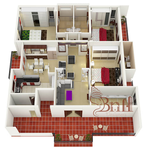 Residential-3BHK-2400sft:   by BNH DESIGNERS