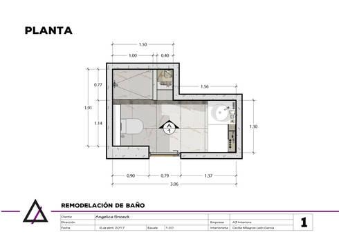 Remodelación de Baño Principal:  de estilo  por A3 Interiors