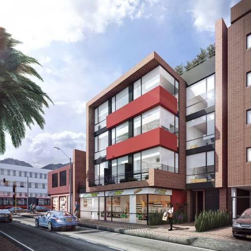Edificio K57 Living: Casas de estilo moderno por CONSTRUCCIONES 2AM S.A.S.