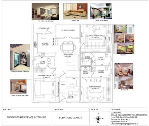 Interior project at mallapur:   by Walls Asia Architects and Engineers