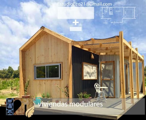 Vivienda Modular 3x9 + 1x3: Casas de estilo industrial por Estudioeco21