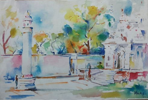 Temple outdoor:  Artwork by Indian Art Ideas