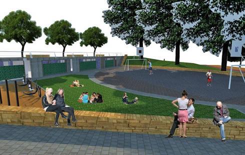 Diseño Parque Balcón Quinta Normal Santiago: Jardines de estilo moderno por Super A Studio