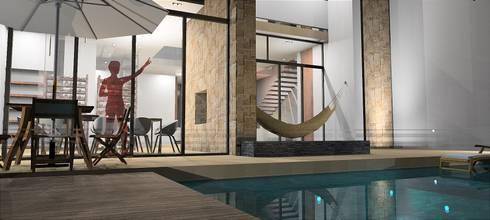 Fachada posterior: Casas de estilo moderno por Rs + Arquitectos