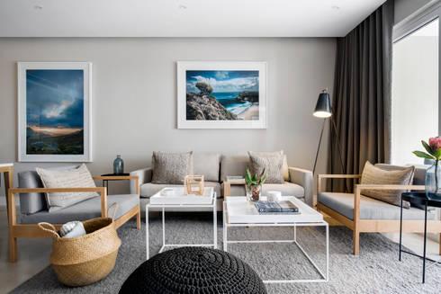 WATERFRON STAY_GULMARN APARTMENTS: scandinavian Living room by MINC DESIGN STUDIO