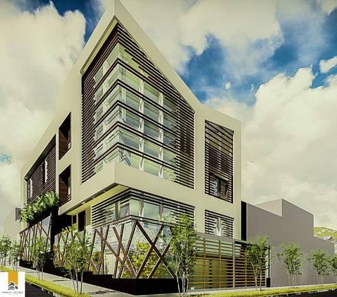 FACHADA EN ESQUINA:  de estilo  por FRANCO CACERES / Arquitectos & Asociados