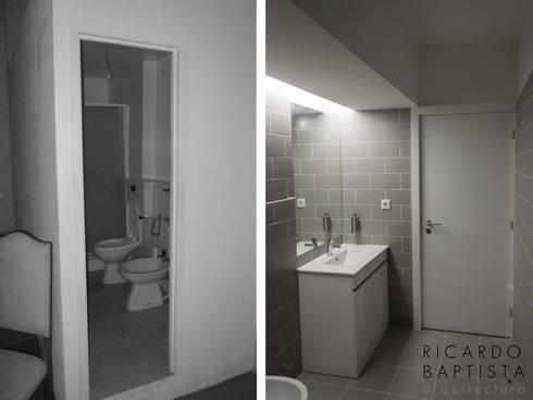 Quarto de Banho (antes e depois):   por Ricardo Baptista, Arquitecto