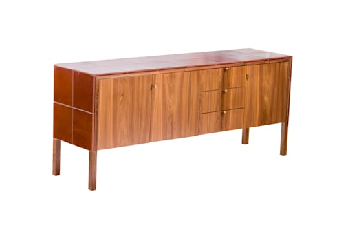 Tan leather server: modern Dining room by Egg Designs CC