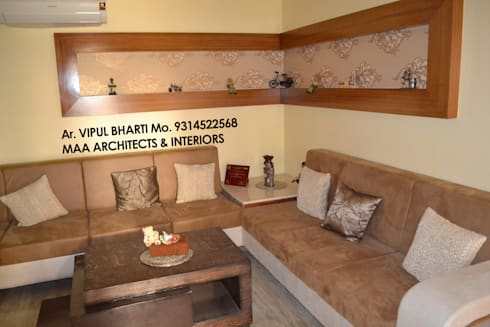 Prem Chelani ji: modern Living room by MAA ARCHITECTS & INTERIOR DESIGNERS