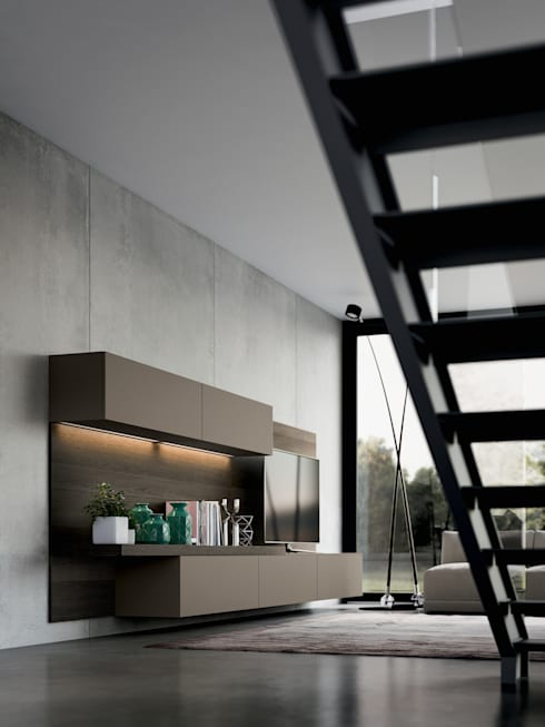 COLECCION OMICRON 22 - ATELIER CASA - ARMONY : Salas multimedia de estilo moderno por ATELIER CASA S.A.S