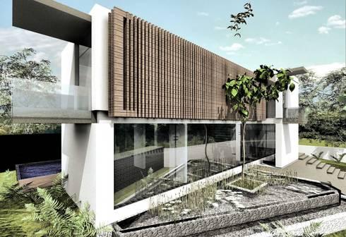 Fachada Lateral Izquierda:  de estilo  por Elite Arquitectura y Asoc. SAS.