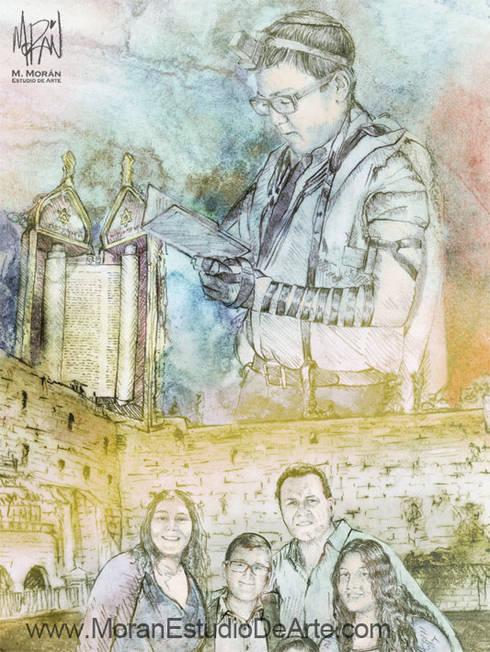 La tradición y costumbres transmitidas por siempre en tu retrato familiar.: Arte de estilo  por MORAN Estudio De Arte