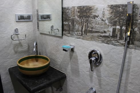 rustic Bathroom by Vinayak Interior   Interior Designing and Decorator Companies