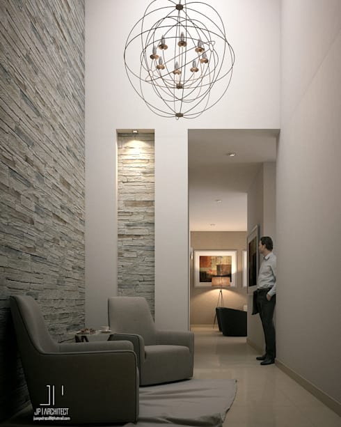 Recibidor a doble altura: Pasillos y recibidores de estilo  por Juan Pedraza Arquitecto
