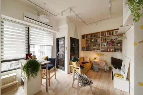 開放式的LDK空間:  客廳 by 一葉藍朵設計家飾所 A Lentil Design