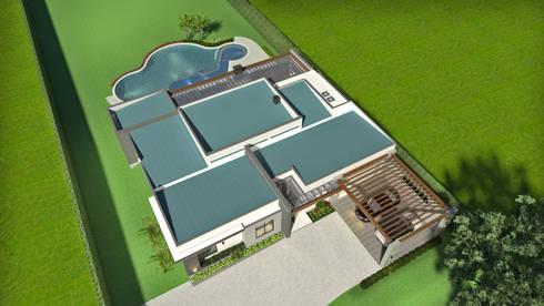 Vista aérea de los techos: Casas de estilo moderno por Arquitecto Pablo Restrepo