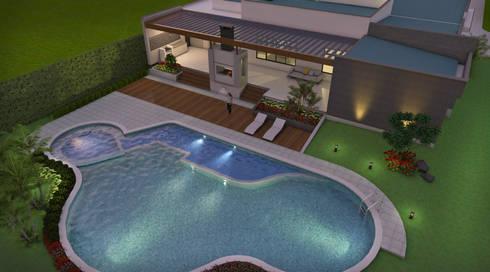 Vista aérea Zona Húmeda, piscina, Jacuzzi, B.B.Q.: Casas de estilo moderno por Arquitecto Pablo Restrepo