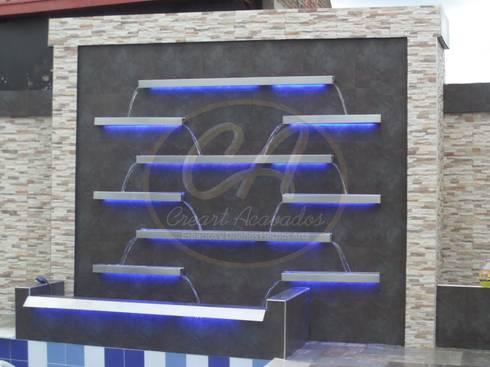 Fuente de agua en escalas, fabricada con acero inox: Piscinas de estilo minimalista por Creart Acabados