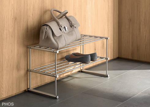 schuhregale und schuhablagen in edelstahl design von phos design gmbh homify. Black Bedroom Furniture Sets. Home Design Ideas
