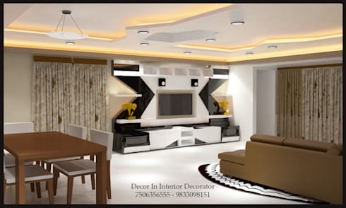 Tv Unit, Dinning Table, Sofa, Wall Painting, Electric and POP Work: modern Living room by Decor In Interior Decorator