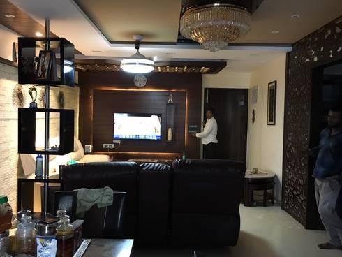 3bhk flat at sanath nagar: modern Living room by studio B.A.D