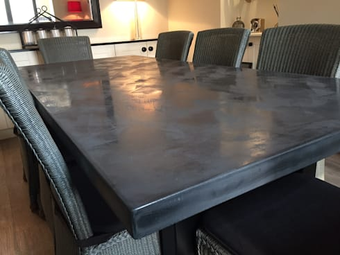 Polished Concrete Dining Table In Charcoal Grey: Industrial Dining Room By  Daniel Polished Concrete