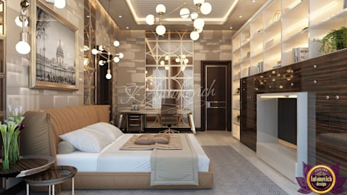 ​  Bedroom  interior  in the Modern style of Katrina Antonovich: modern Bedroom by Luxury Antonovich Design
