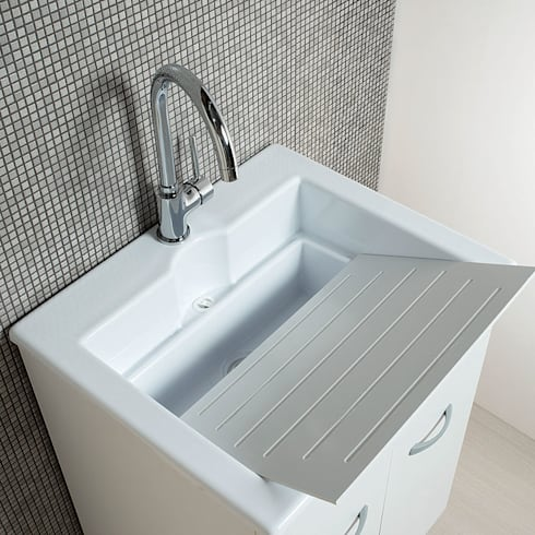 Mobile lavanderia 60x50 Zeus con vasca lavatoio in Abs doppia ...