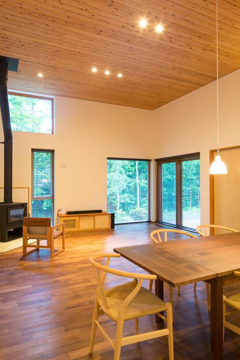 軽井沢 モリキズナの家/新築住宅: 一級建築士事務所 アトリエ カムイが手掛けたリビングです。