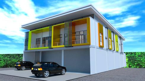 ออกแบบ 3d อาคารพานิชย์ 2ชั้น :  บ้านและที่อยู่อาศัย by mayartstyle