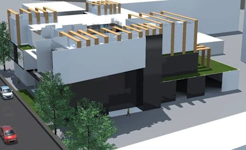 ออกแบบ 3d อาคารพานิชย์ 2ชั้น  style modern:  บ้านและที่อยู่อาศัย by mayartstyle