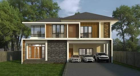 บ้านพักอาศัยสองชั้น:  บ้านและที่อยู่อาศัย by M2 3D Design