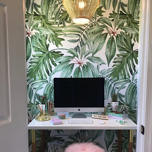 ​​Banana Leaf - Wallpaper - Adhesive Fabric: tropical Study/office by Moonwallstickers.com
