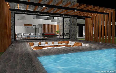 Terraza y piscina: Terrazas  de estilo  por Smartlive Studio