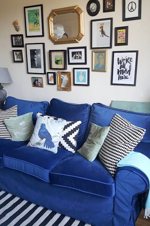 Replacement slipcovers: IKEA Ektorp Sofabed with blue velvet covers ...